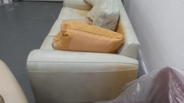 3 seat sofa of suite badly sun faded you can see original colour