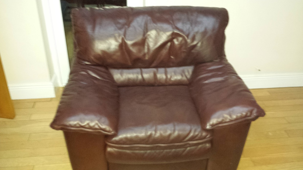 Leather armchair colour restored