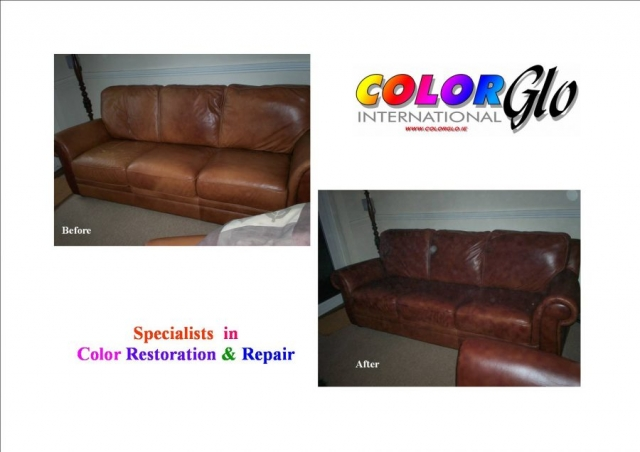 Brown sofa faded and colour restored