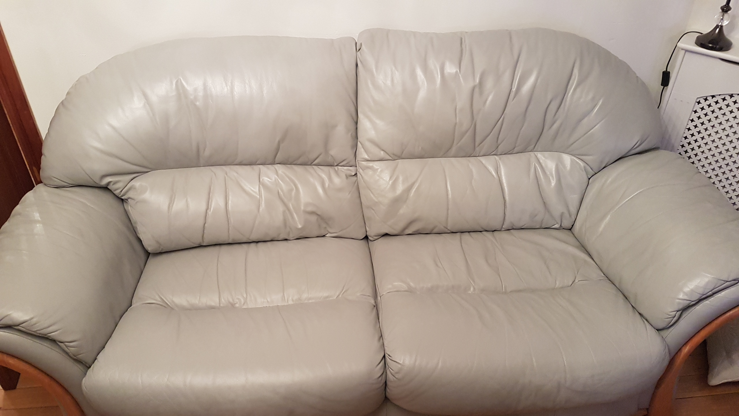 Cream leather sofa change to silver gray
